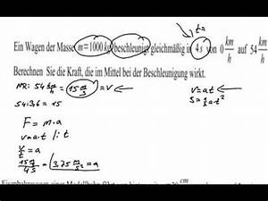 Physik Beschleunigung Berechnen : physik klausur berechnen der kraft aus masse und ~ Themetempest.com Abrechnung