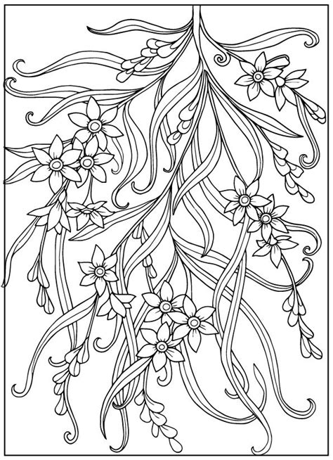 Coloring book for adult and older children. Coloring page with vintage flowers. Outline drawing