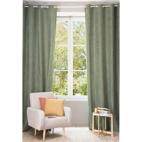 rideaux occultants 300 cm rideau 224 œillets vert lichen 140 x 300 cm chenille maisons du monde