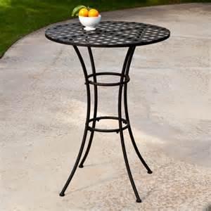 woodard capri wrought iron bar height bistro table patio