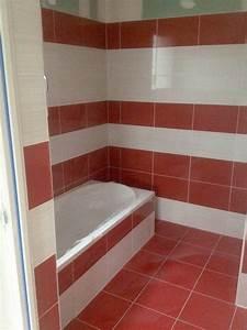 Carrelage salle de bain blanc et rouge for Carrelage salle de bain rouge et gris