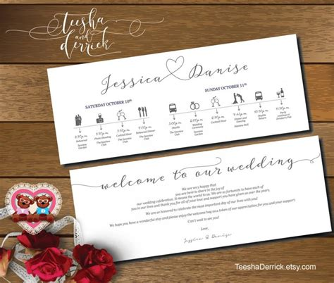 wedding  bag itinerary template