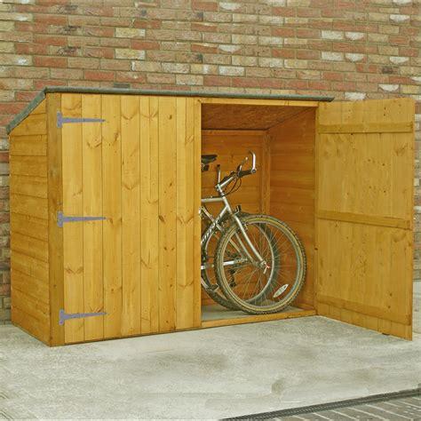 pent wooden bike store