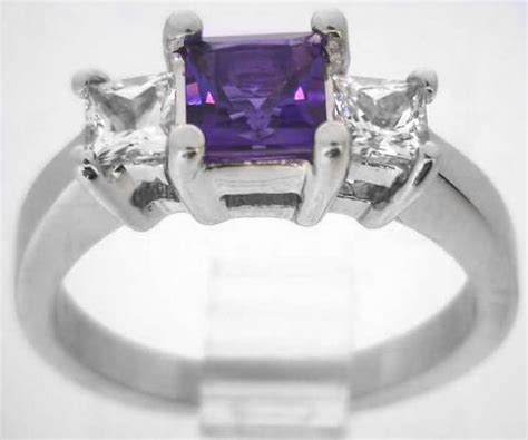 princess cut amethyst  white sapphire engagement ring