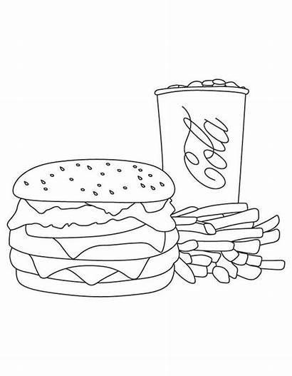 Burger Coloring Fries Cola Junk King Trio