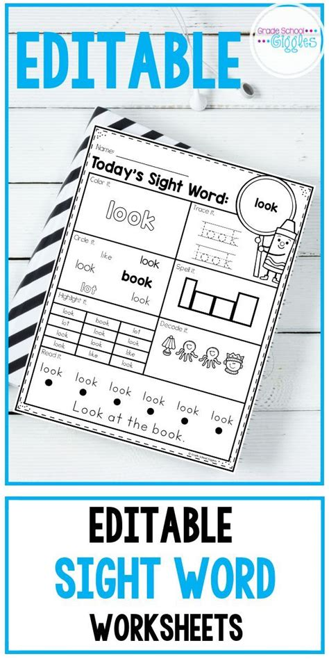 sight words worksheets editable  images sight word