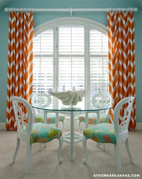 orange curtains contemporary dining room at home in