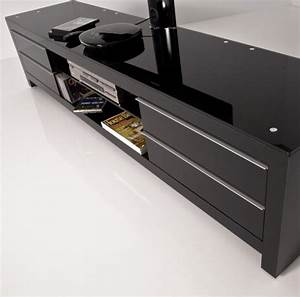 Meuble De Télé Conforama : meuble tv design noir 200 cm prm 200h bbb exclusive mobuler ~ Teatrodelosmanantiales.com Idées de Décoration