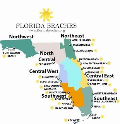 Florida Beaches Map Praias Mapa Orlando Guia