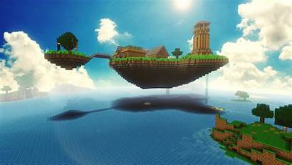 Minecraft Island Floating Mojang Videospel