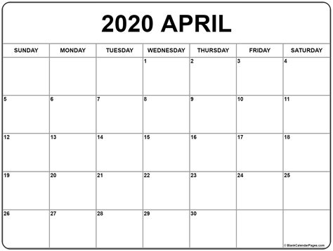 april calendar printable monthly calendars