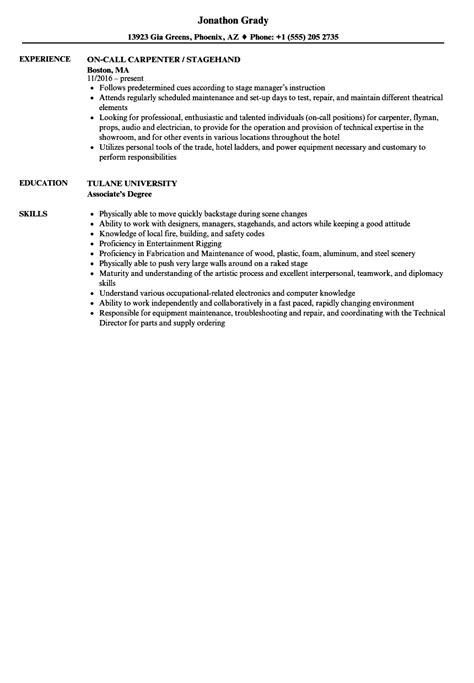 stagehand resume samples velvet jobs