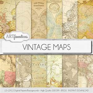 "Vintage maps digital paper, ""VINTAGE MAPS"" Travel,antique ..."