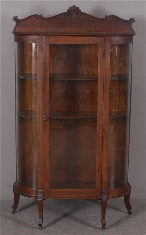 where to put glass cabinets in a kitchen oak curved glass china cabinet with 2 adjustable shelves 36 2258