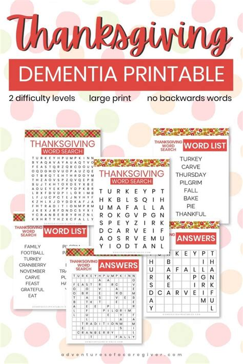 Maybe you would like to learn more about one of these? Dementia-Friendly Thanksgiving Word Searches | Adventures of a Caregiver