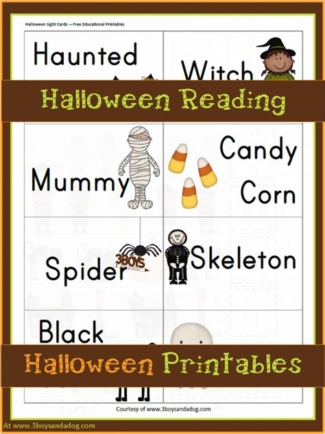 Halloween Printables Halloween Reading Fun  3 Boys And A Dog