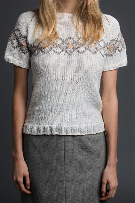 strickpullover selber stricken kostenlose anleitung kurzarm pullover mit einstrickmuster initiative handarbeit knitting