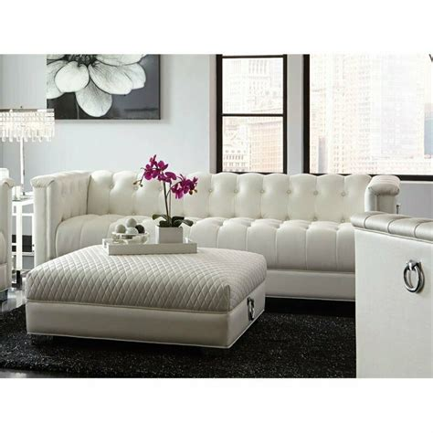 White Leather Sofa Ebay by Coaster Chaviano Tufted Sofa In White Ebay