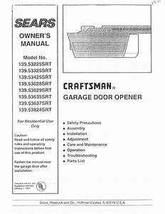 Craftsman Garage Door Opener 139 53325srt User Guide