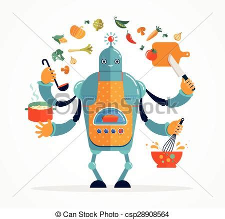 robo de cuisine clip vector of multitasking chef baking and