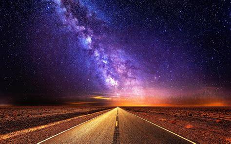 wallpaper  night road starlight sky stars background