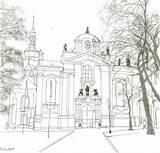 Monastery Drawing Prague Template Coloring Sketch sketch template