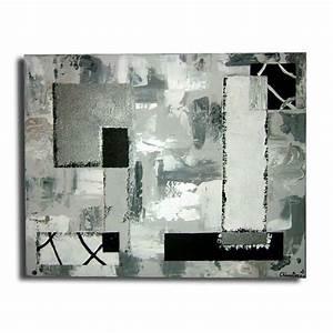Tableau Moderne Noir Et Blanc : tableau xxl art contemporain moderne abstrait noir blanc gris argent ~ Teatrodelosmanantiales.com Idées de Décoration