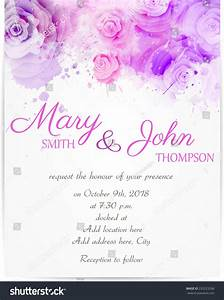 wedding invitation template with abstract roses on With wedding invitation abstract watercolor painting