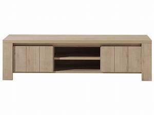 Meuble Tv 180 Cm : meuble tv 180 cm brest nature coloris ch ne clair chez conforama ~ Teatrodelosmanantiales.com Idées de Décoration