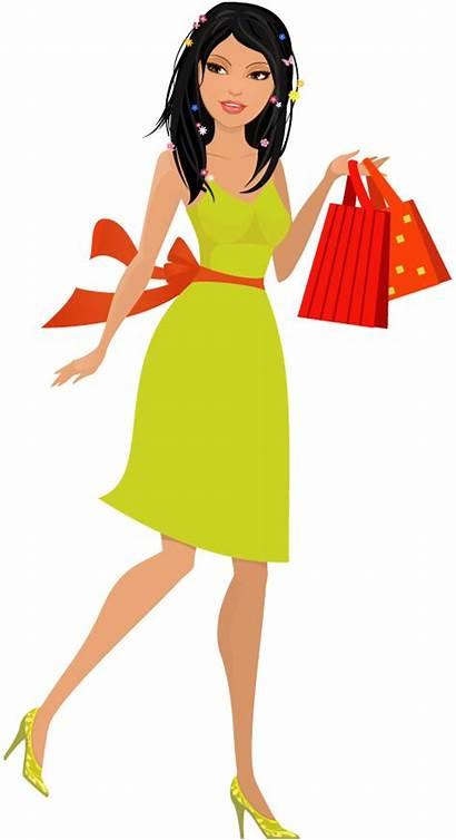 Cartoon Woman Young Clipart Shopping Transparent Disney