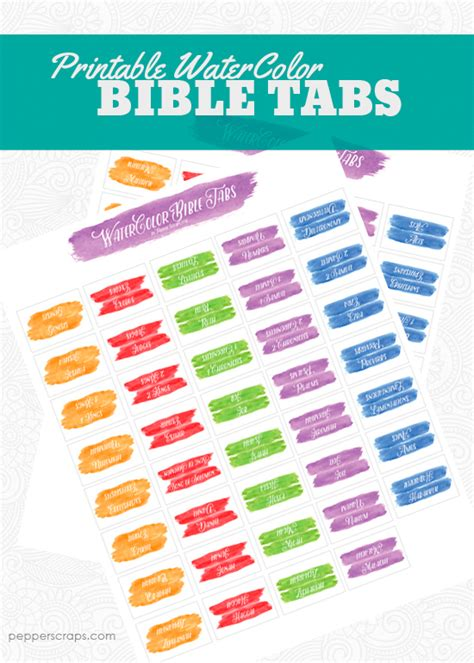 watercolor bible tabs pepper scraps printables