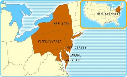 middle atlantic states map world map vector