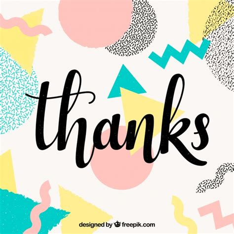 Thank You Background With Multicolor Shapes Vector Free
