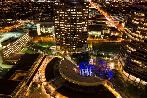 Aerial Of Downtown Buildings At Night In Phoenix, AZ Stock ...
