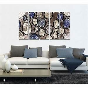 Hygge silver blue and black metal wall art panel