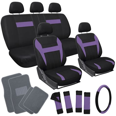 floor mats and seat covers 21pc set purple black auto car seat covers with steering wheel gray floor mats