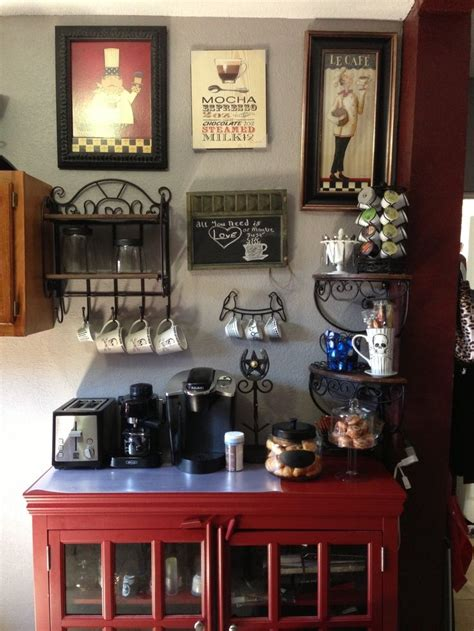 This coffee bar sideboard began life as upper kitchen cabinets. 35 coins-café pour la maison   Coffee bar ideas, Coffee and Bar