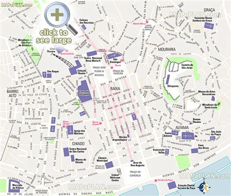 lisbon maps top tourist attractions  printable