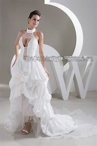 Sexy halter a line high low sweep brush train wedding for High low halter wedding dress