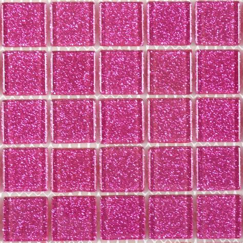 1 x 1 pink glass square tile glossy blgd507
