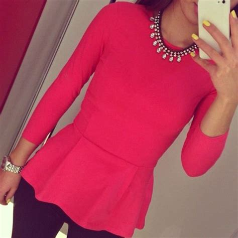 Blouse pink pink blouse jewels pants shirt hot pink statement statement necklace peplum ...