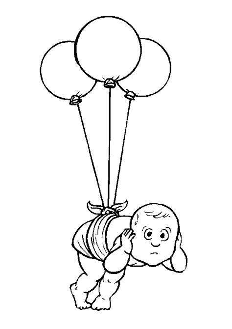 Kleurplaat Ballon Met Mandje En Baby by N 23 Kleurplaten Baby