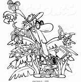 Jungle Coloring Outline Tourist Cartoon Toonaday Vecto Rs Leishman Ron sketch template