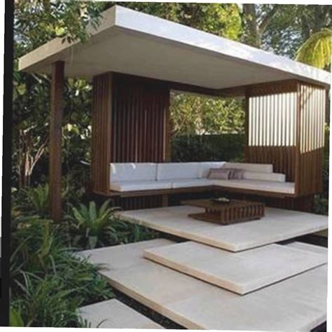 Contemporary Gazebo Modern Gazebo With Steps And Benches And Roof And Table