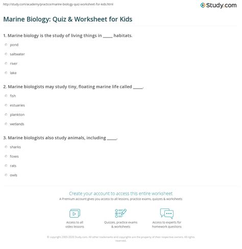 marine biology quiz worksheet  kids studycom