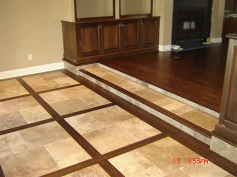 Wood Inlays Make This Travertine Tile Floor Stand Out