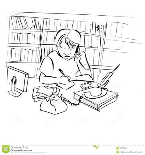 bureau dessin dessin de l 39 homme travaillant à bureau illustration de