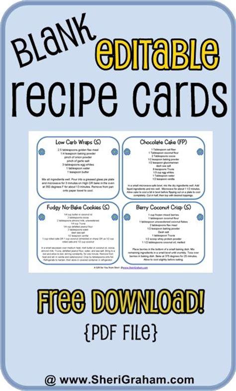 blank editable recipe cards    card versions