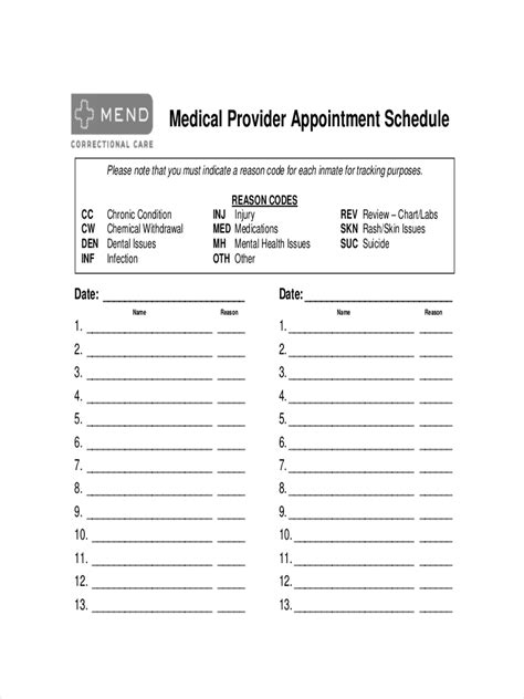 appointment schedule examples samples  pdc