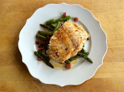 grouper asparagus chorizo seared pan